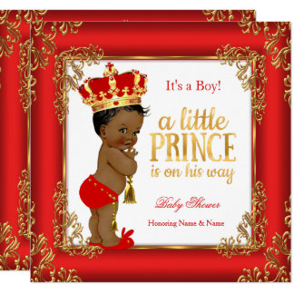 Red Gold Prince Baby Shower Damask Ethnic Boy Card