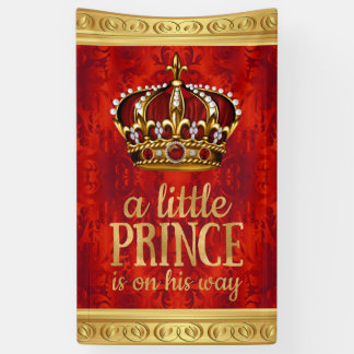 Red Gold Prince Crown Boy Baby Shower Banner
