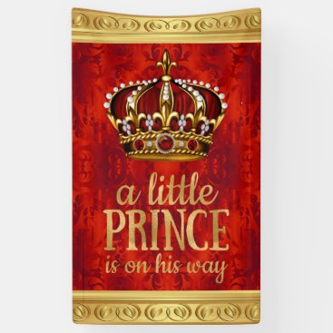Toddler & Baby themed Red Gold Prince Crown Boy Baby Shower Banner