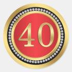 Red, gold, print diamonds 40th Wedding Anniversary Classic Round Sticker