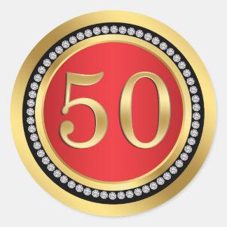 Red, gold, print diamonds 50th Wedding Anniversary Classic Round Sticker