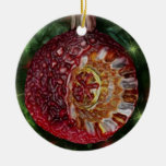 Red Gold Reflector Bulb Double-Sided Ceramic Round Christmas Ornament
