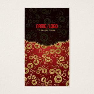 Red & Gold Retro Circle Random Pattern Business Card