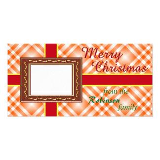 Red & Gold Ribbon Christmas Card Custom Photo Card
