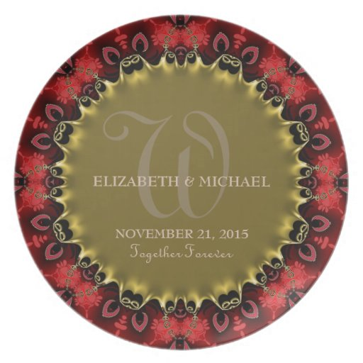 Red & Gold Royale Art Wedding Keepsake Gift Plate