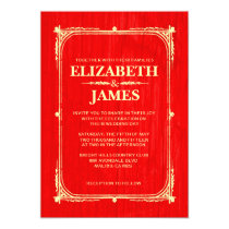 Red & Gold Rustic Barn Wood Wedding Invitations