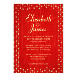 Red & Gold Rustic Country Wood Wedding Invitations Custom Invites