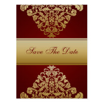 red gold save the date announcement postcard