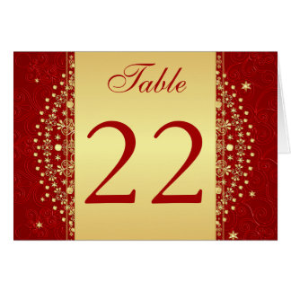 Red, Gold Scrolls, Stars Table Number Card Cards