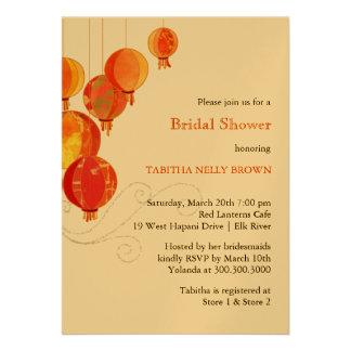 Red, Gold Shimmer Asian Theme Bridal Shower Invite