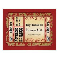 Red & Gold Showbill Wedding Response Cards 4.25
