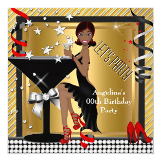 Red Gold Silver Black Martini Birthday Party Card