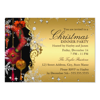 """Red Gold Snowflake Christmas Dinner Party 4a 5"""" X 7"""" Invitation Card"""
