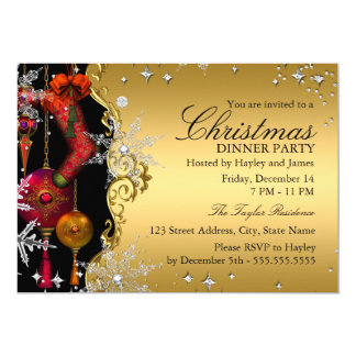 Red Gold Snowflake Christmas Dinner Party 4a 5x7 Paper Invitation Card