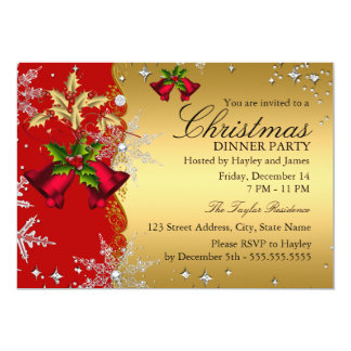 """Red Gold Snowflake Christmas Dinner Party 4b 5"""" X 7"""" Invitation Card"""