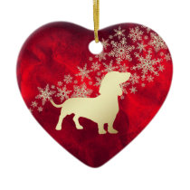 Red Gold Snowflake Dachshund Ceramic Ornament