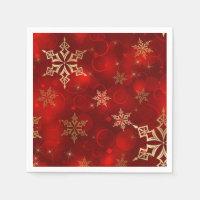 Red & Gold Snowflakes Christmas Holiday Napkins
