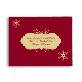 Red, Gold Snowflakes Envelope for RSVP Card