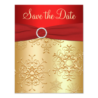 Red, Gold Snowflakes Wedding Save the Date Card