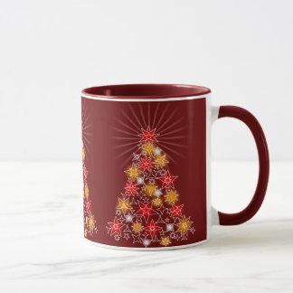 Red & Gold Star Christmas Lights Tree Mug