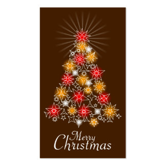 Red & Gold Star Christmas Tree Gift Tag 2 Business Card