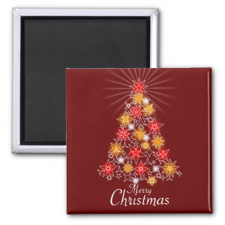 Red & Gold Star Christmas Tree Square Magnet