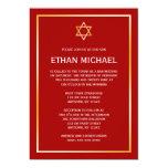 "Red Gold Star of David Bar Mitzvah Invitations 5"" X 7"" Invitation Card"