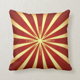 Red Gold Starburst Design Throw Pillow