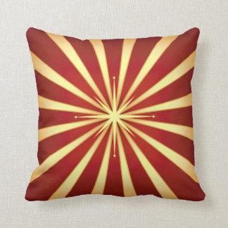 Red Gold Starburst Design Throw Pillow