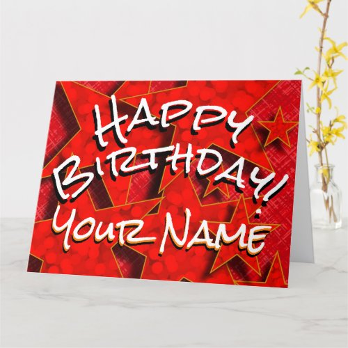 Red Gold Stars Your Name Happy Birthday Card