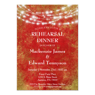 Red Gold String Lights Rehearsal Dinner Invitation