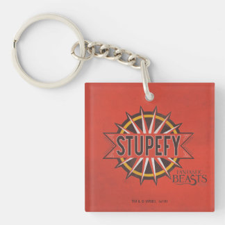 Red & Gold Stupefy Spell Graphic Keychain