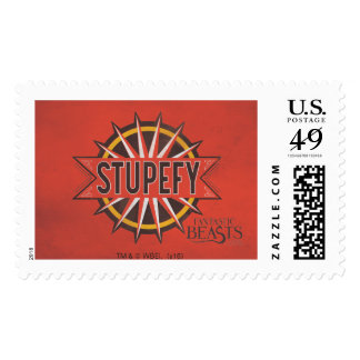 Red & Gold Stupefy Spell Graphic Postage