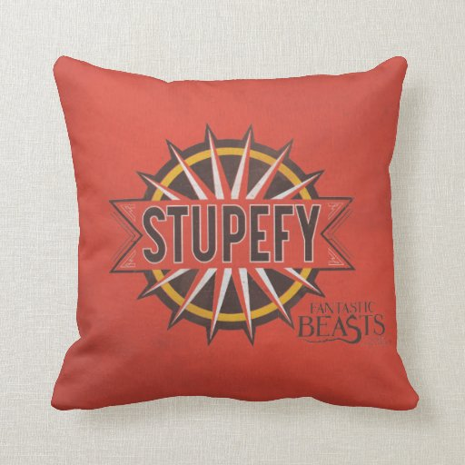 Red & Gold Stupefy Spell Graphic Throw Pillow Zazzle