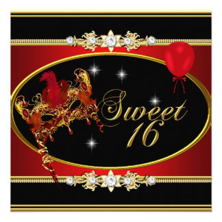 Red Gold Sweet Sixteen Sweet 16 Masquerade Personalized Invites