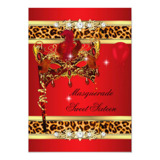 Red Gold Sweet Sixteen Sweet 16 Masquerade Leopard Card