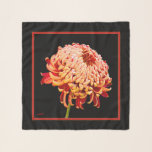 """Red & Gold Tan Mum Square Chiffon Scarf<br><div class=""""desc"""">Red & Gold Tan Chrysanthemum Mum Square Chiffon Scarf.  Optional Initials.  Design by Claudine Boerner,  2018 All Rights Reserved.</div>"""