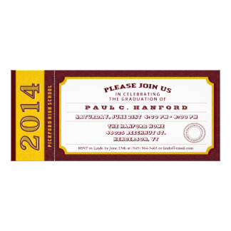Red & Gold Ticket Graduation Party Invitation