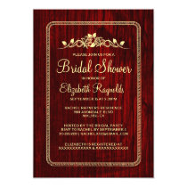 Red Gold Vintage Barn Wood Bridal Shower Invites