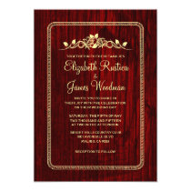 Red & Gold Vintage Barn Wood Wedding Invitations