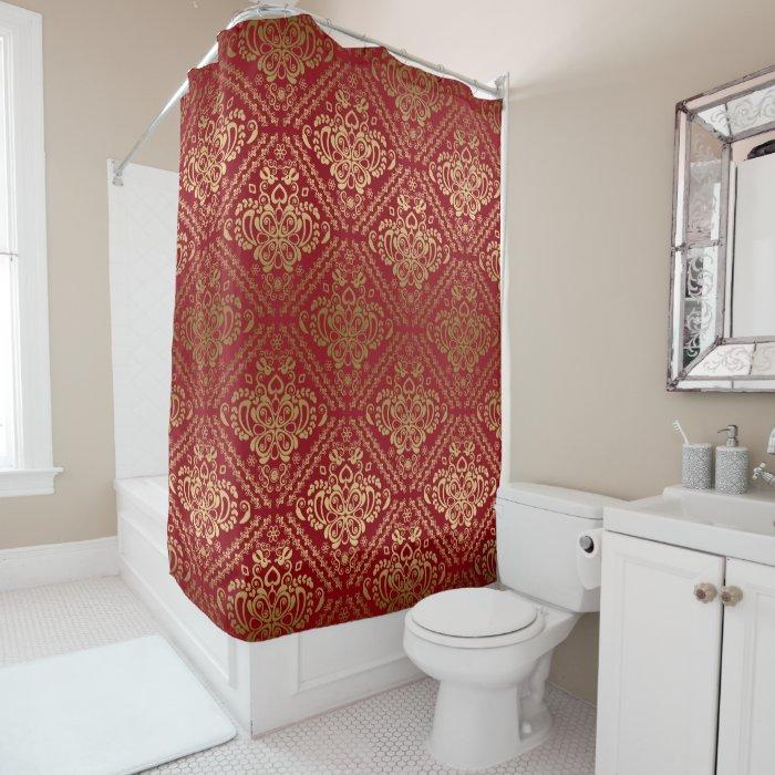 Red Amp Gold Vintage Floral Damask Geometric Pattern Shower