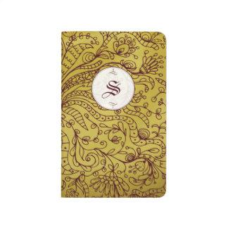 Red & Gold Vintage Floral Monogram Pocket Journals