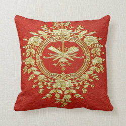 Red & Gold Vintage Throw Pillow