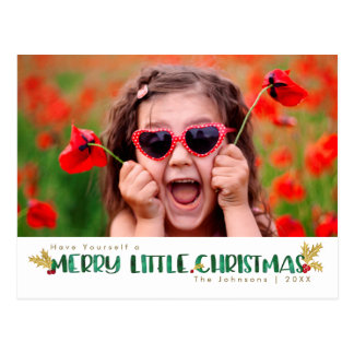 Red & Gold Watercolor Merry Little Christmas Postcard