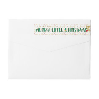 Red & Gold Watercolor Merry Little Christmas Wrap Around Label