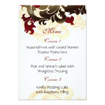 red gold wedding menu card