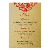 red gold wedding menu card