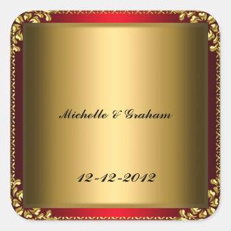 Red Gold Wedding Sticker Red Gold