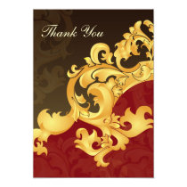 red gold wedding ThankYou Cards