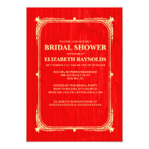 Red Gold Western Barn Wood Bridal Shower Invites